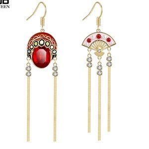 szechuan art/Chinese fan asymmetry tassel earrings